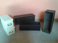 3 x Luxury Leather-like CD / General Storage Trays / Boxes - 2 free CD storage boxes