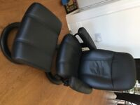 Ekornes Stressless Consul Real Leather Recliner Swivel Chair and Footstool in black