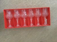 Six cut crystal Wine glasses (boxed)