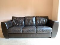 Furniture Village Mistral 3 Seater Leather Sofa - Chocolate Brown
