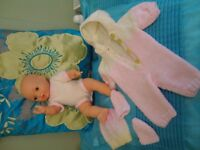 "CITI TOY DOLL 12"" WITH NEW HAND KNITTED CLOTHES THE DOLL IS UNUSED KEPT IN A BOX"
