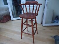 Tall Captains Bar Chair / Stool with spindles and back rest - Saltdean