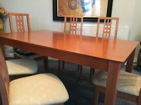 Dinning table and six chairs wood affect good condition