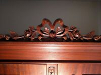 Antique Hardwood Wardrobe with Hand Carved Decorations