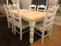 REDUCED - Lovely 6ft Shabby Chic Farmhouse Oak Table and 6 Chairs
