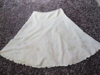 PER UNA SKIRT CREAM EMBROIDERED SUMMER WEIGHT LINED LINEN SIZE 16 LONG BOHO