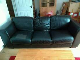 3-Seat Leather Sofa, Good Condition