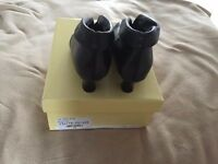 Cara Black Leather ankle boots size 6.5 (40)