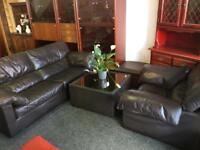 Brown sofa, chair, stool and coffee table can deliver