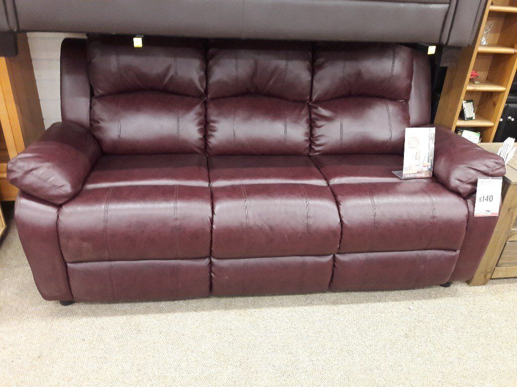 Outstanding 3 Seater Light Weight Wine Leather Sofa In Airdrie North Lanarkshire Gumtree Gamerscity Chair Design For Home Gamerscityorg