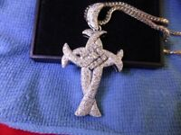 Heavy 14 ct solid white gold cross set with diamonds With a 9 ct white gold Chain One off