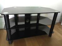 Black Glass TV Stand Hardly Used - Tempered Glass - Excellent Condition