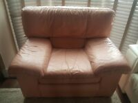 Nicoletti real Italian leather blush pink armchair. Can deliver for free