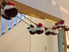 Christmas hanging Garland Christmas Pud pom-poms