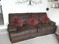Brown suede effect reclining sofa originally bought from CSL