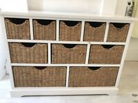 Ivory wood storage unit with rattan drawers