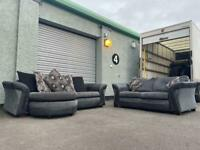 SOLD! Grey & black dfs sofa set delivery 🚚 sofa suite couch furniture