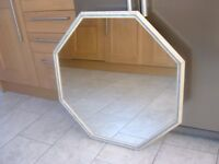 BEAUTIFUL HEXAGON MIRROR IN AN OFF WHITE/GREY/BLUE FRAME - IDEAL FOR HALL OR LOUNGE OR BEDROOM
