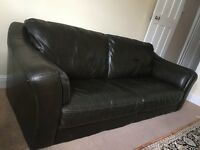 Leather Sofa Dark Brown