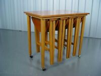 Vintage Nest Of Tables Tea Cart Mid Century Retro Furniture
