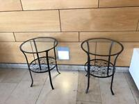 2 round glass top metal occasional tables £29
