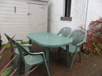 Oval garden table and chairs