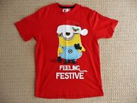 Mens Minions Despicable Me Feeling Festive Christmas Xmas Red S/S T-Shirt Small