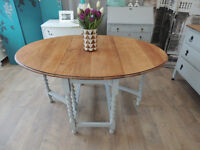 Lovely shabby chic vintage solid oak gate legs dining table