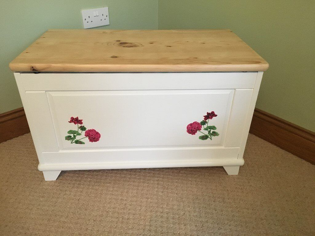Hand painted furniture blanket box toy box painted white decoupaged flowers