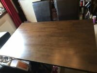 Solid Dark Wood Dining Table 4 Leatherette Chairs