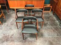 SAFE DELIVERY AVAILABLE - 4 Black Curved Back Vintage Mid Century Danish Dining Chairs in Teak