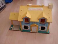 1969 vintage Fisher price family play house. plus lots of accessories