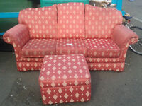 3 seater patterned sofa with pouffe