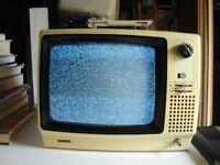 "PYE RETRO BLACK/WHITE 12"" PORTABLE TELEVISION MODEL N0 552"
