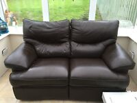 Real leather reclining double sofa