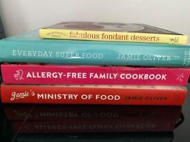 Set of four cookbooks incl. Jamie Oliver