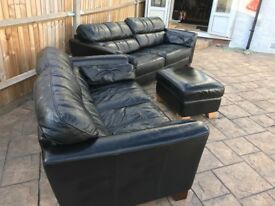 Black Leather Suite with footstool