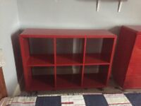 Red high gloss bookcase