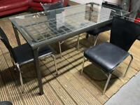 BLACK METAL DINING TABLE WITH GLASS TOP + 4 CHAIRS