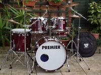 Premier Genista 100% Birch drum kit - Made in England 1990s with Paiste alpha cymbals ! + Extras !