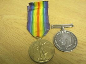 Two World War I Medals - presented to PTE W Thurland - Wiltshire No 200997