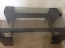 Black & glass coffee table