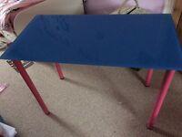 Blue glass top table / desk - £10