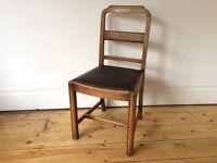 Vintage 1930s Art Deco Kitchen Dining Chair Solid Oak