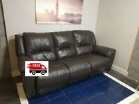 3 seater leather recliner sofa (Free Delivery)