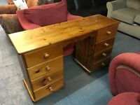 SOLID PINE PANELLED BACK DESK DRAWERS EITHER SIDE