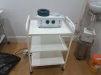 Used Double wax waxing pot warmer heater including trolley and 1 kg warm wax