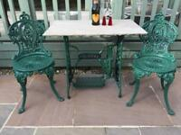 Cast iron singer sewing machine table & Chairs