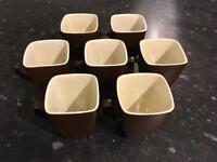 Squared Mugs Tea Cups x7