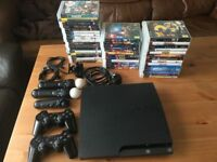 PS3 Sony Playstation 3 Slim, 500GB, 43 games, 2 controllers + MOVE set, cables